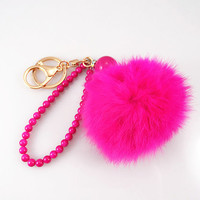 Fashion fur ball handmade keychain, Hot pink beads chain,trend accessories, Hot pink furball bracelet--3colors /gift box