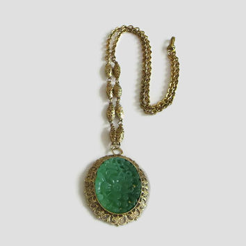 Chinese Faux Jade Pendant Necklace, Vintage Molded Lucite Plastic & Gold Tone Filigree Setting, Signed Hong Kong, Ornate!