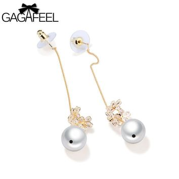 GAGAFEEL Line Earrings Woman Drop Earring Long Tassel Chain Simulated Pearl Copper Round Bead Design Gold Color Jewelry For Lady