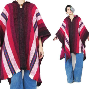 Vintage Striped Hooded Poncho Cape Hippie Mexican Baja Striped Jacket Free Size Poncho Pink Knit Layering Beach Womens Poncho Sweater (L/XL)