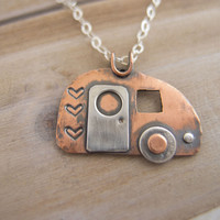 Retro Camper Charm Necklace, Lets Go Camping Necklace, Vintage Travel Trailer, Camping Jewelry, Happy Camper Necklace, Glamping Jewelry
