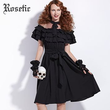 Rosetic Gothic Dress Bow Mesh Mod Goth 70s Black Party Miss Kitty Style Dress Women Summer Vintage Princess Retro Gothics Dress
