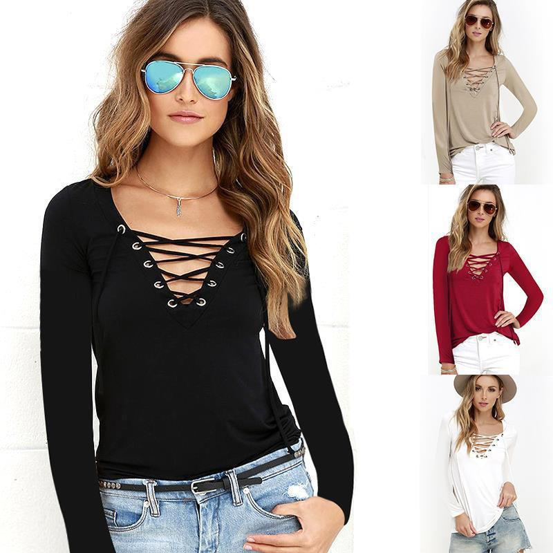4cd0d6ccbd20d2 Sexy Women's Lace Up V Neck Sexy Women Blouse Top Long Sleeve Bandage Slim  Fit Bottomi