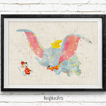 Disney Dumbo Watercolor Art Print, Baby Room, Nursery Wall Art, Home Decor, Not Framed, Buy 2 Get 1 Free!