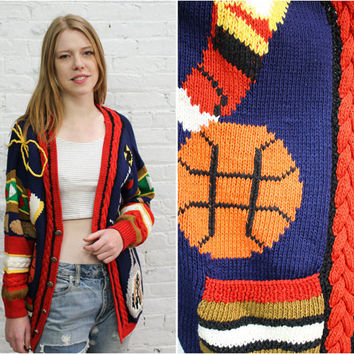 1980s sports theme cardigan / preppy atheletic cardigan / tennis golf football baseketball