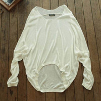 Solid Irregular Pullovers Knitted Sweater for Women +Free Gift -Random Necklace -79
