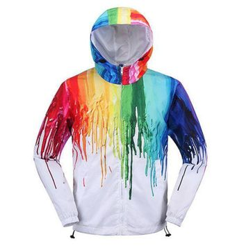 ONETOW Day-First? Art Creative Painting Color Couple fashion Hooded Zipper Cardigan Sweatshirt Jacket Coat Windbreaker Sportswear