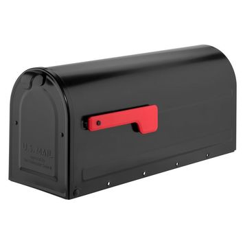 Architectural Mailboxes MB1 Post Mount Mailbox Black with Red Flag