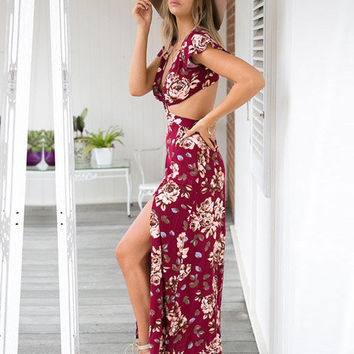 Red Floral Print Cut Out Maxi Slit Dress