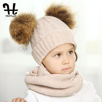 FURTALK children wool winter hat scarf sets girl and boy real fur pom pom baby hats knit infinity scarf for kids age 1-5 years