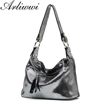 New Luxury Serpentine Pattern Embossed Handbags Shiny Genuine Leather Women Designer Hobos Multi Functional Tote Bags S5335