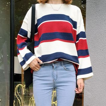 All Match College Wind Loose Causal Striped Colorful New Fashion Female Sweaters