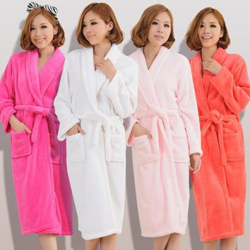 Women's Stitch Flannel Towel Sleeprobes Female Flannel Nightwear Couple Sashes Bow Tie Thicken Warm Bathrobes