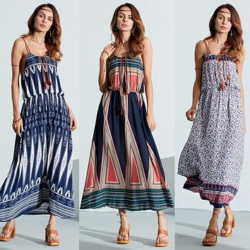 Women's Bohemian Maxi Dresses With Elastic Waist and Spaghetti Straps.  Available  in 5 Patterns and Colors.  Also Available in Sizes from Small to 5XL!!  FREE SHIPPING!!