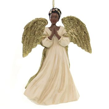Holiday Ornaments BLACK ANGEL IN GOLD/IVORY DRESS African American C7607 A