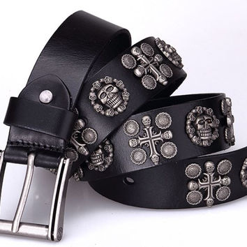 3 colors Punk genuine leather Belt  Metal cross Rivet skull Belt men brown Ceinture Homme Black Marcas Strap