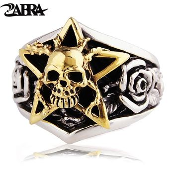 ZABRA Solid 925 Sterling Silver Gold Color Skull Men Ring 3D Rose Mens Rings Punk Vintage Biker Gothic Jewelry Bagues Homme