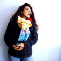 OOAK knitted chunky shawl rainbow block color wrap, chunky knit scarf