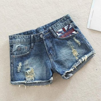 2016 New Plus Size Hollow Out Women Print Jeans Shorts Summer Style Hole Design Denim Shorts for Women Jeans Shorts 26 - 34