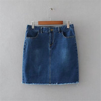 XL-4XL Denim Skirt Women Summer Autumn Vintage Casual Female Blue Jeans Ladies Office Mini Skirt Saia Plus Size