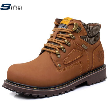 New Winter Men Motorcycle Boots Ankle Martin Fashion Leather Waterproof Hiking Safety Work Shoes big size A093