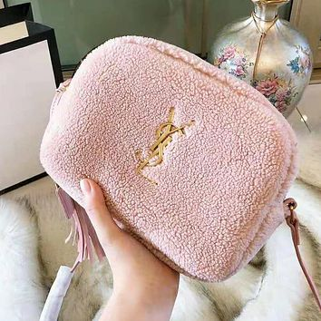 YSL Autumn Winter Popular Women Lambs Wool Shoulder Bag Crossbody Satchel Pink