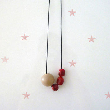 Coral Large Necklace || Gemstone || Wood || Big Bead || Coral || Natural || Mixed Media || Modern || Minimal