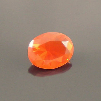Fire Opal: 0.77ct Cherry Red Oval Shape Gemstone, Loose Natural Hand Made Mexican Faceted Precious Gem, OOAK Cut Crystal Jewelry Supply O17