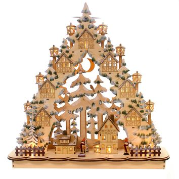 Christmas LED LASERCUT TOWN IN TREE Wood German Holiday 131465