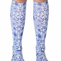 Blue Bandana Knee High Socks
