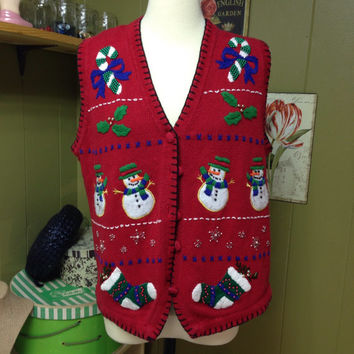 Vintage Ugly Christmas Sweater w/ Poinsettia Womens M Free Shipping