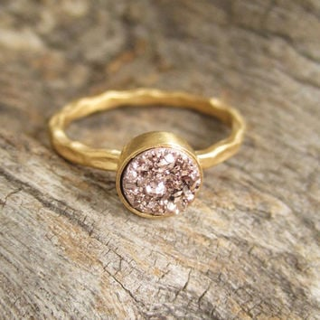 Tiny Rose Gold Druzy Ring Titanium Drusy Quartz 18K Gold Vermeil Hammered Band