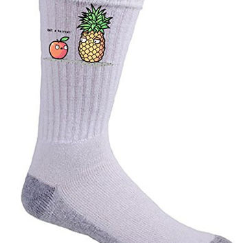 'Haircut Pineapple' Fruit Humor - Crew Socks
