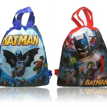 Novelty 10pcs Batman Childrens Cartoon Drawstring Backpack Bags,Non-Woven Fabric Multipurpose Bags 34*27CM Kids Party Supplies