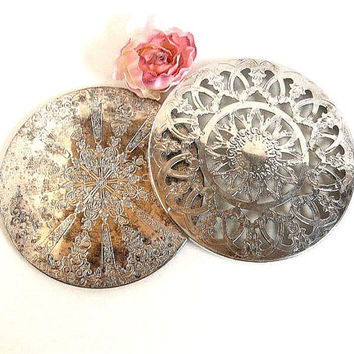 Vintage PAIR ornate silver plated trivets, filigree emobssed, Leonard silverplate Falstaff, Glass and silver plated tableware