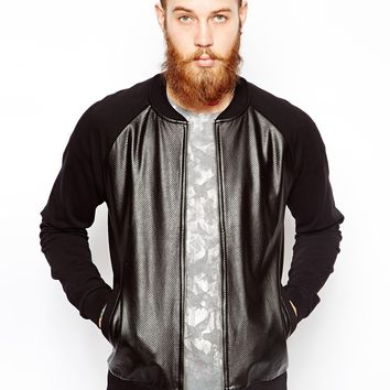 ASOS Bomber In Jersey With Leather Look Body