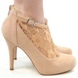 SZ 8 Heart Throb Nude Suede Lace Booties