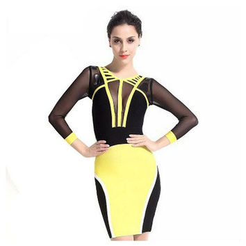 2016 New Women Long Sleeve Dress Mesh Sexy Bandage Dresses Slim Drop Free Shipping