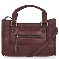 Suede and Leather Crossbody Bag - Burgundy