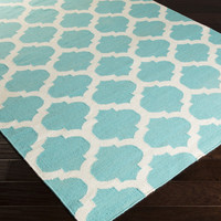 Frontier Area Rug | Blue Geometric Rugs Hand Woven | Style FT561
