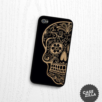 iPhone 5 Case Sugar Skull Wood Print iPhone 5S Case, iPhone 4/4S Case, iPhone 5C Case