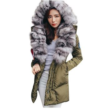 TOP Quality Large Real Fox Fur 2017 Winter Jacket Women Natural Fur Collar Hooded Down Jacket For Women Winter coat female Parka