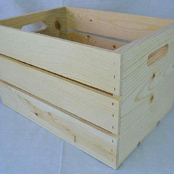 """Slatted Wooden Crate made of Western pine with outside measurements of 18"""" x 12.5"""" x 9.5"""" with hand holes"""