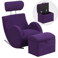 Flash Furniture HERCULES Series Purple Fabric Rocking Chair with Storage Ottoman [LD-2025-PU-GG]