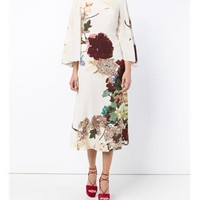 VALENTINO | Floral Print Silk Capelet Dress | Womenswear | Browns Fashion