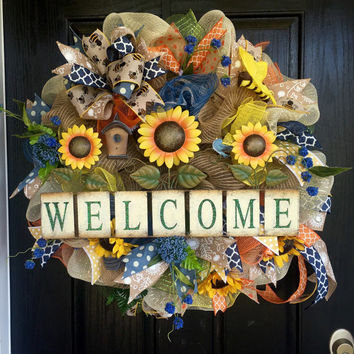 Welcome Sunflower deco mesh wreath, spring deco mesh wreath, Welcome burlap wreath, sunflower burlap wreath,front door wreath, summer wreath