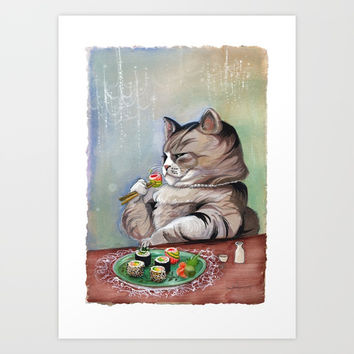 Sushi Cat- Fancy Feast Art Print by Christina Siravo