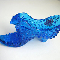 Blue fenton glass shoe hobnail vintage tag on collectible glass