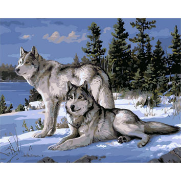 No Frame Wolf Animals DIY Painting By Numbers Kits Paint On Canvas Acrylic Coloring Painitng By Numbers For Home Wall Decor