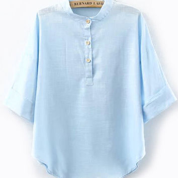 Stand Collar With Buttons Blue Blouse